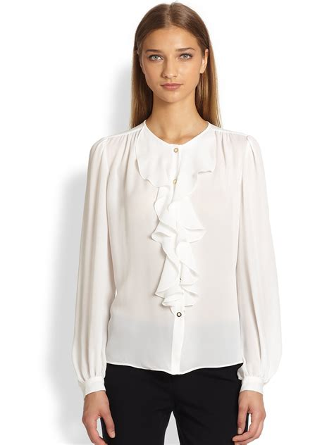 ruffled blouses emilio pucci silk ruffle blouse in white lyst