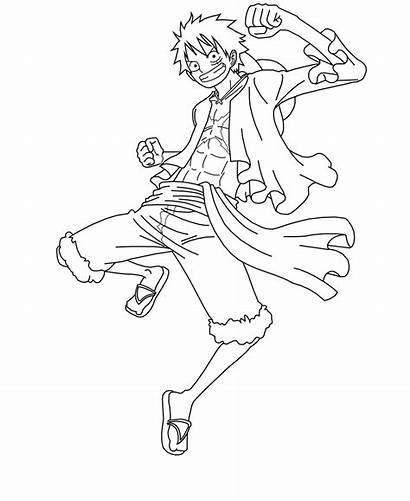 Luffy Monkey Lineart Piece Drawing Coloring Deviantart