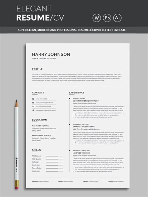resume word template cv template with super clean