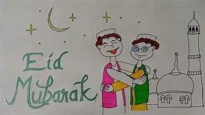 EID mubarak drawings for kids, eid festival drawing ...