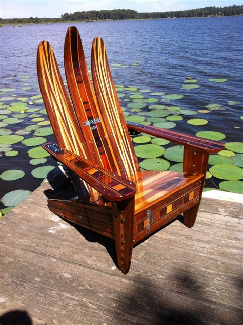 adirondack chair   vintage wooden water skis