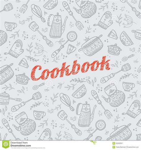 cookbook cover  kitchen items stock vector