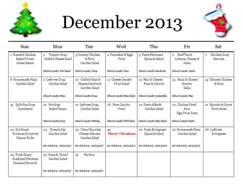 December Meal Planner Template thrifty mom in boise monthly meal planner december