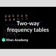 Twoway Frequency Tables And Venn Diagrams (video) Khan