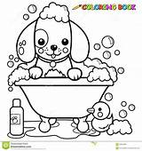 Coloring Bath Dog Tub Taking Bubble Outline Vector Pages Illustration Shutterstock Cat Animal Colouring Dogs Grooming Printable sketch template