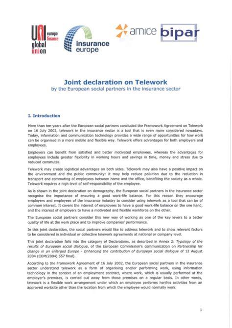 accord cadre europeen sur le teletravail accord de branche europ 233 en sur le t 233 l 233 travail dans le secteur des