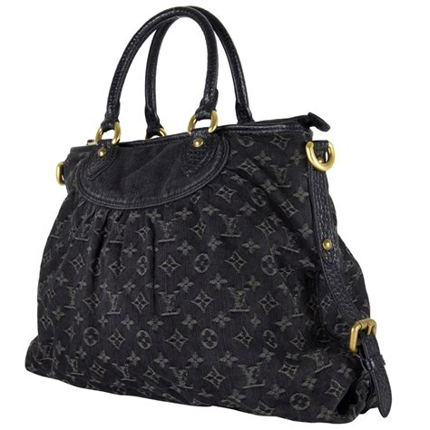 louis vuitton black monogram denim neo cabby gm handbag