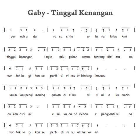 not pianika lagu tetap dalam jiwa not angka pianika tinggal kenangan gaby not angka pianika