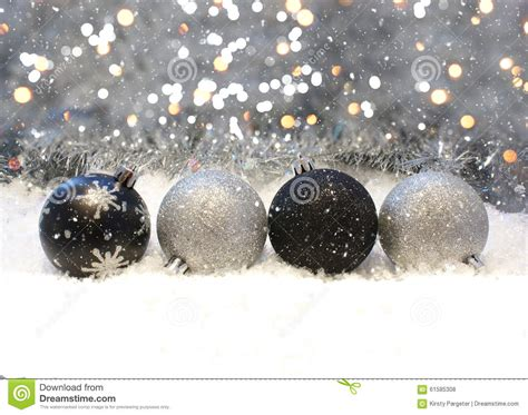 silver  black christmas decorations stock photo image