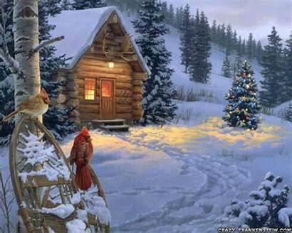 Kinkade Thomas Christmas Cabin Scene Winter Scenes