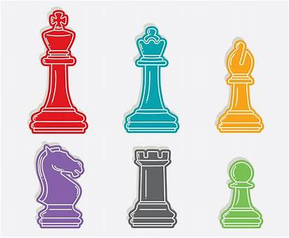 Vector Chess Pieces Colorful Pawn Graphics Freevector