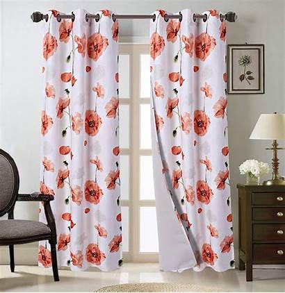 Curtain Floral Panels Grommet Orange Thermal Bedroom