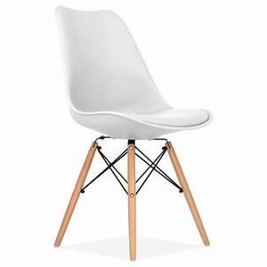 Stühle Im Eames Stil : eames inspirierter wei esszimmerstuhl mit dsw style holzbeinen ~ Bigdaddyawards.com Haus und Dekorationen
