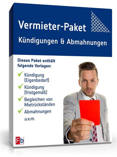 Mieter Vermieter Umzug Nur Noch Mit Bescheinigung by Vermieter Paket K 252 Ndigung Abmahnung