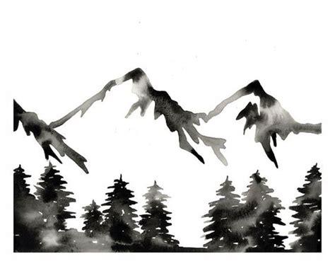 Modern Mountain Print Black White Watercolor Forest