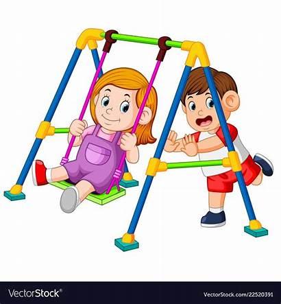 Playing Swings Children Fun Cartoon Vector Swing