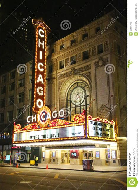 famous chicago sign at state street editorial photo