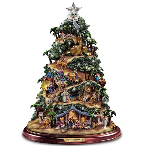 christmas tabletop musical rotating christmas tree decoration kinkade musical lighted nativity tree decor new ebay