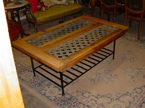 handmade industrial vent grate cypress coffee table