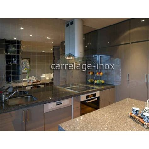 credence cuisine carrelage tile mirror polished stainless steel mosaic credence