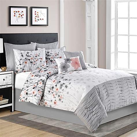 Calysta Comforter Set in Coral/Grey   Bed Bath & Beyond