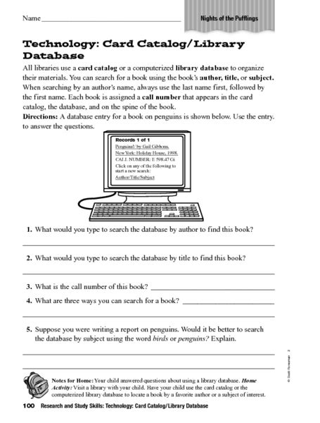 grade 6 technology worksheets technology card catalog library worksheet for 6th grade