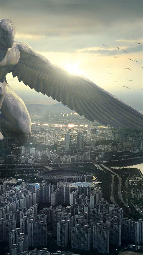 wallpaper giant angel city  art
