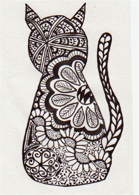 Zentangle Cat  Doodles  Pinterest  Coloring, Sprays And
