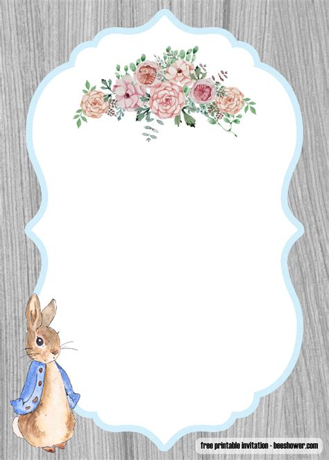 peter rabbit baby shower invitations templates