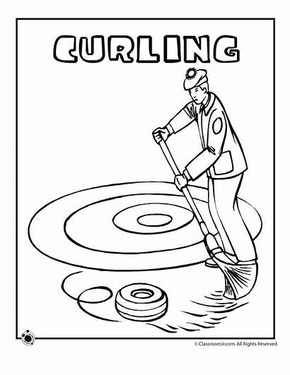 Coloring Curling Olympics Olympic Pages Winter Sports