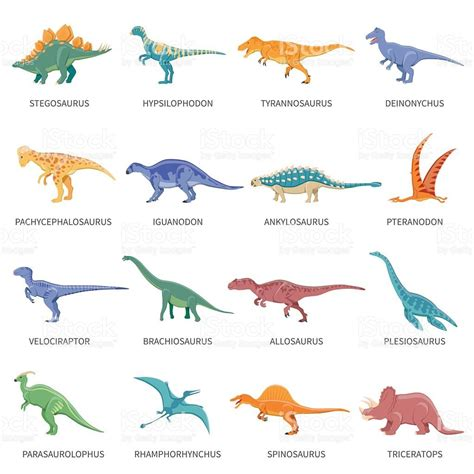 colored isolated icons set   types  dinosaurs