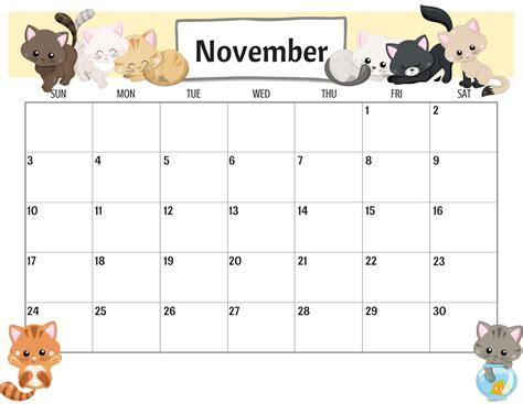 colorful cute november  calendar images net market