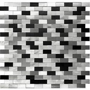 3D Metal Aluminum Black/White/Gray Mosaic Kitchen ...