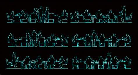 silhouettes  people office  dwg elevation