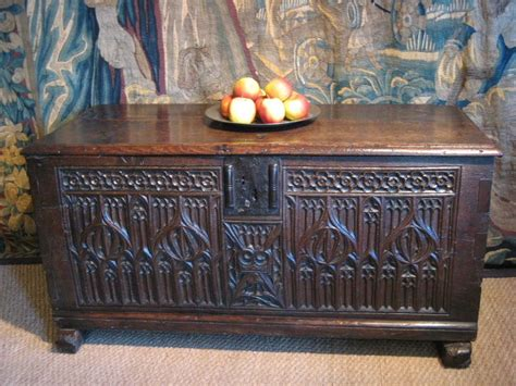 gothic carved oak planked coffer french circa