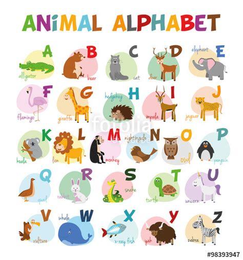 ilustracion de vector alfabeto ilustrado  animales