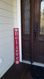 Christmas, Sign, For, Front, Porch, Porch, Sign, Red, Christmas, Sign, Believe, Sign, Vertical, Believe