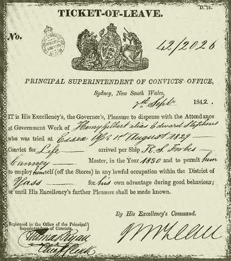 Ticket Of Leave Template by Tales From Colonial Queensland A Dastardly Assault With