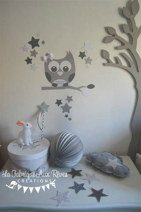d 233 coration chambre enfant b 233 b 233 mixte gris fonc 233 blanc gris clair photo de 13 stickers hibou