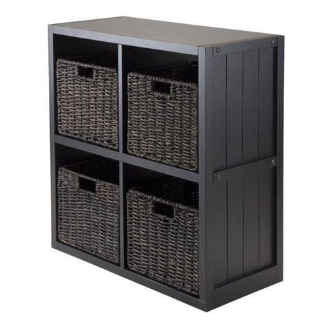 black bookcase with baskets 5pc 2x2 wainscoting shelf with 4 husk baskets in black 20425