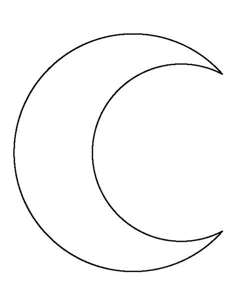 moon template crescent shape free coloring pages