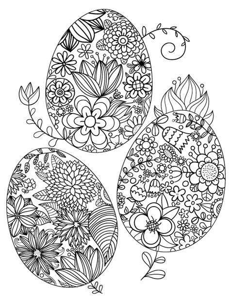 printable floral easter egg adult coloring page