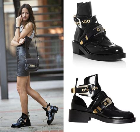 womens motorcycle riding boots with heels 2017 new arrival cutout buckle boot black ankle boots