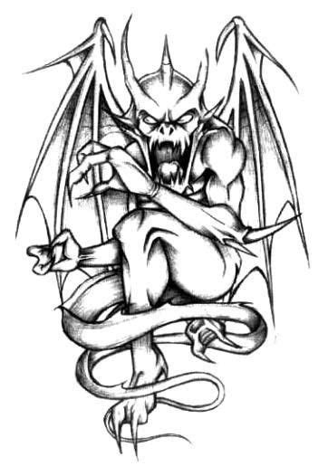 Black-and-white screaming gargoyle tattoo design   art works   Demon tattoo, Gargoyle tattoo