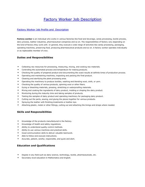 production worker job description  resume vvengelbertnl