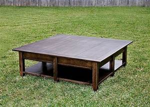 Custom rustic pottery barn inspired oversized coffee table for Rustic oversized coffee table