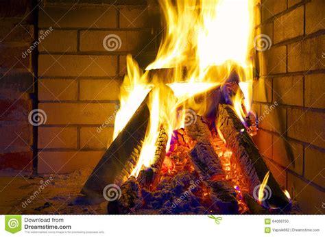 Burning Logs In Fireplace Stock Photo Image 64068750