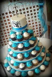 turquoise wedding cakes turquoise wedding cake cupcake tower cupcakes scroll work black sugar pearls decorate my