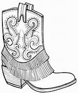 Coloring Boots Cowboy Western Adult Drawing Boot Outline Dog Wickedbabesblog sketch template
