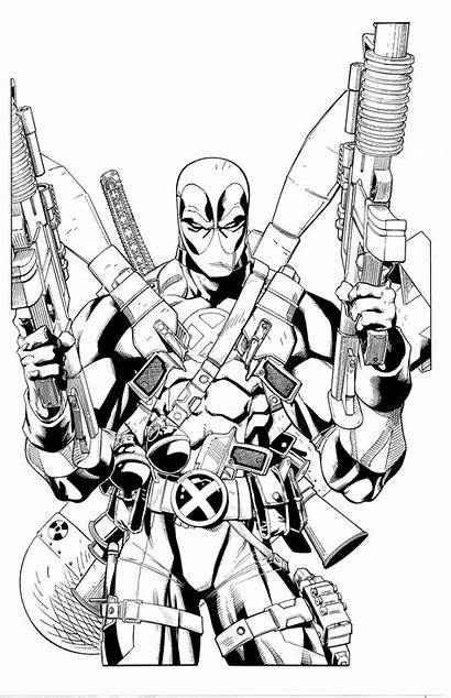Deadpool Coloring Pages Printable Deviantart Loaded Fully